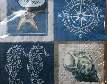 "20 Luncheon Napkins, Starfish Seahorse Shell Compass Nautical, one package, 13""x 13"""