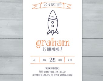 Rocket Birthday Party Invitation  |  Spaceship Invitation  |  Space Rocket Invite