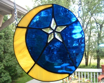 Stained Glass Moon and Bevel Star Sun Catcher
