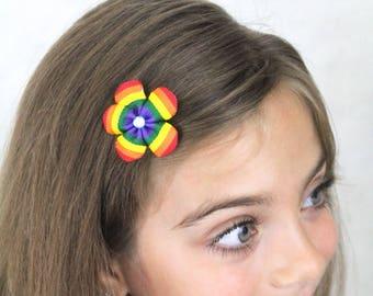 Rainbow Flower Hair Clip - Tiny Flower Clip Rainbow Spectrum - Bright Rainbow Accessories