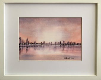 Perth Skyline at Dusk, Framed Original Watercolour Painting