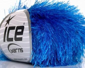 Blue Eyelash Yarn, Ice  #50647, 50 Gram - True Blue Fun Fur