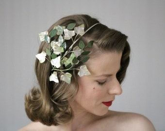 """Ivy Headband, Leaf Hair Accessory, Green Headpiece, Leaves Fascinator, 1940s Hairpiece Vintage Hair Mori Moss Green - """"Lady of the Marsh"""""""