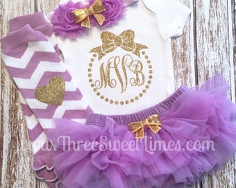 Personalized Monogrammed Baby Girl Outfit Purple Gold Glitter | Lavender 1st Photo Shoot Smash Cake | Monogrammed Leg Warmer Tutu Bloomer