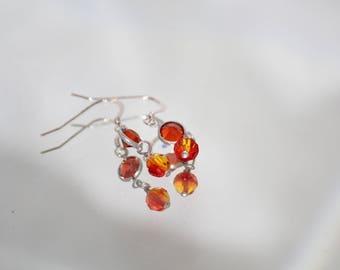 Sterling Silver Fish Hook Orange Swarovski Crystal Earrings