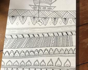 Adult Coloring Page Printout- Tea and Books Mandala