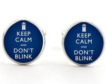 Keep Calm Dr Who Don't Blink Cufflinks