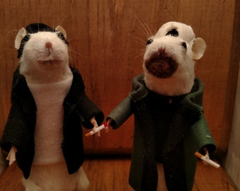 Jay and silent Bob taxidermy mice