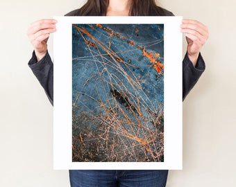 Dark blue industrial photography, rust abstract photograph. Loft artwork. Abstract wall art, metallic artwork blue & orange home decor.
