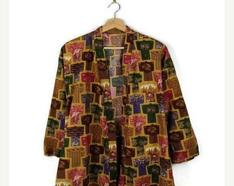 ON SALE Vintage Kimono Patterned Cotton Cardigan from 80's/Japanese