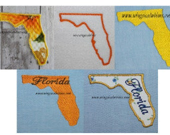 Florida Applique, filled and outline Set of 5 FL  Digitized Machine Embroidery Design