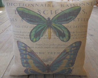 French Butterfly Burlap Pillow, French Country, Rustic Farmhouse, Farmhouse Pillows, B40,  INSERT INCLUDED