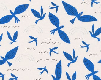 Fat Quarter Blue Birds Fly No Place Like Home By Leah Duncan For Cloud9 Fabrics, Organic Cotton, Birds