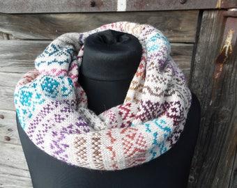 Infinity Scarf Knit,Infinity Scarf, Scarf, Knit Scarf,Fair isle infinity scarf, loop scarf, knit neck warmer,circle scarf,Circle Scarf