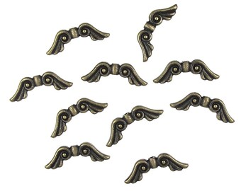 10 Brass Wing Beads - Angel Wing Beads - Antique Brass Oxide Angel Beads - TierraCast Pewter Metal Beads (PA19)
