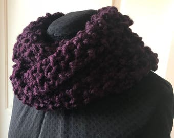 Chunky/jumbo handknit infinity scarf in Burgundy.  Beautiful  accent to any outfit.