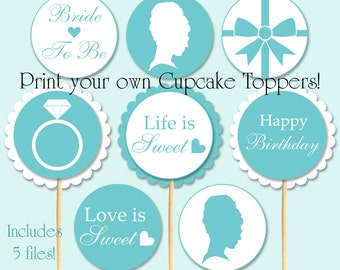 Breakfast at Tiffany's Cupcake Toppers 10 DESIGNS for Bridal Showers and 10 for Birthday Parties Instant Download Printable DIY