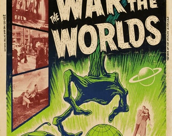 H.G. Wells The war of the worlds 1953 cult sci fi movie poster reprint 19x12.5 inches