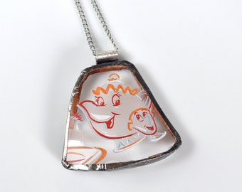 Broken China Jewelry Pendant - Disney - Beauty and the Beast - Mrs Potts and Chip