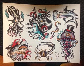 Nautical traditional tattoo flash III