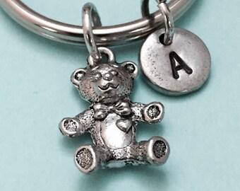 Teddy bear keychain, teddy bear charm, toy keychain, personalized keychain, initial keychain, customized keychain, monogram