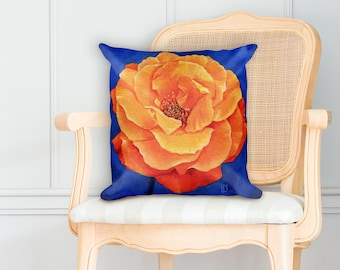 Orange Rose Square Pillow