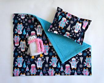 """Penguin Doll Bedding Set, 18"""" doll bedding, navy, aqua, pink, white, doll bedding, penguins, girls birthday"""