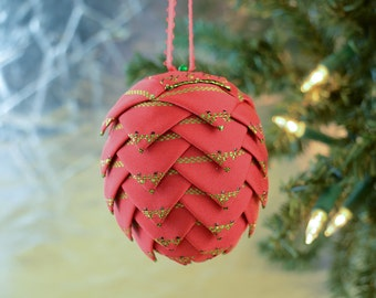 Handmade Christmas Ornament Red and Green Danube pattern Perfect for classic office gift exchange idea or secret santa or stocking stuffer