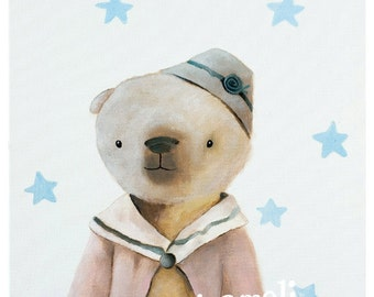 kids illustration, animal nursery illustration, kids wall art print, Teddy Bear print, Teddy Bear gifts, pictures for kids,  girl art print