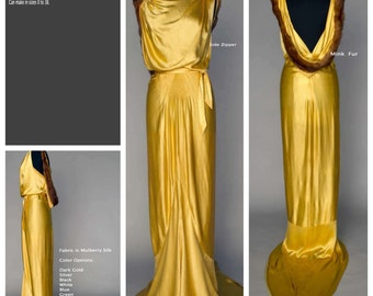 Art Deco Mulberry Silk Gown