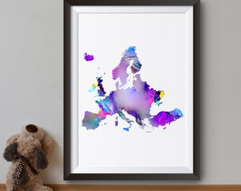 Map of Europe Art Print - Map Poster - Continental map Illustration - Wall Art - Home Decor