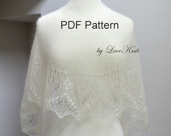 """Shawlette pattern """"Valley of Flowers"""". Hand Knitted Lace Shawl, Wrap, Scarf. Original Design. PDF downloadable pattern. LaceKnit design"""