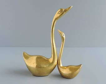 Brass Swan Figurine Pair | Set of Two 2 | Waterfowl Bird Statuettes | Vintage Home Decor