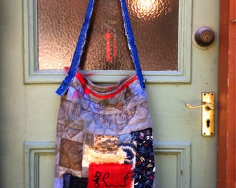 SALE, Upcycled Tote, Upcycled Womens Accessories, Shoulder Bag, Boro, Patchwork Bag, Shabby, Indigo Dyed
