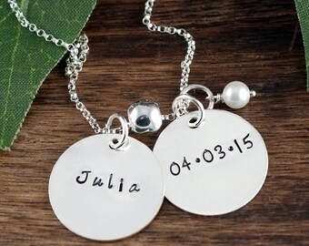 Personalized Name Necklace, Hand Stamped Mothers Necklace, Name Jewelry, Custom Jewelry, Family Necklace, Necklace for Mom, New Mom Gift