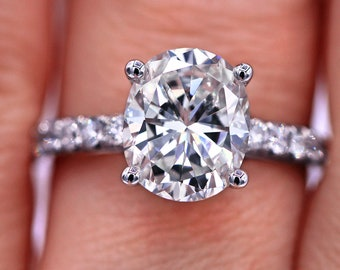 GIA certified 3.62 cts oval shaped diamond engagement ring