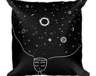 Galaxy in her Mind Square Pillow Tumblr Hipster Grunge Aesthetic Stars Sun Moon Home Urban Trippy Universe Rad Mindset Beautiful Mind