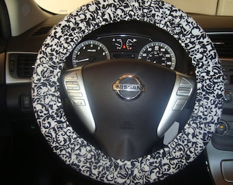 Black and White Damask Print Steering Wheel Cover