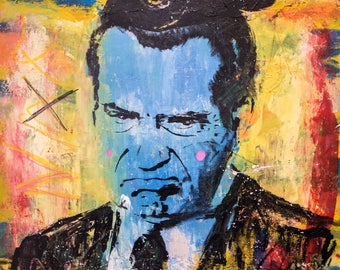 """nixon mouse Pop Art Portrait - (90x70cm) 35.4""""x27.6"""" FREE WORLDWIDE SHIPPING painting ready to hang, hand painting by Carlos Pun"""