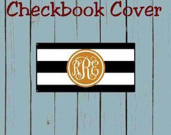 Checkbook Cover Black and White Stripe Pattern Design Monogram Personalized Checkbook cover