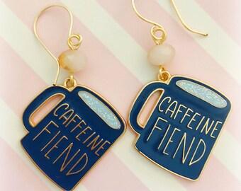 KITSCHY COFFEE FIEND Earrings, Whimsical Earrings, Blue Earrings