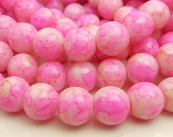 Hot Pink, Light Pink and Off White Round Glass Beads - 10mm Mottled Beads, Colorful, Bohemian Glass - 20pcs - BL3