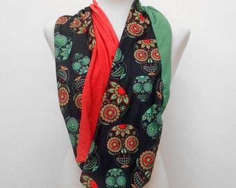 Red and Green Sugar Skulls on Black Infinity Scarf