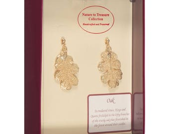 Real Oak Leaves Dipped In 24k Gold - Post Dangle Earrings - 24k Gold Electroplated - Boxed