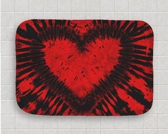 Tie Dye Bath Mat -  Kitchen Mat - Red Black Heart - Memory Foam - Fleece Top - Bathroom Mat