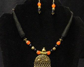 Simply Cute Handmade Black Orange Beads Antique pendant Chord Necklace Set