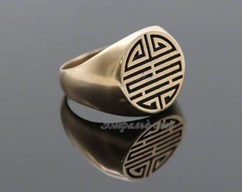 Longevity ring Long life ring Shou symbol Lotus Chinese good luck charm Chinese symbol of wealth Feng shui