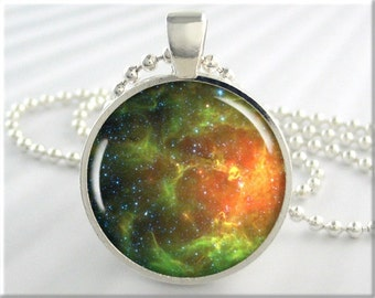 Hubble Nebula Pendant, Space Charm, Hubble Telescope Picture, Photo Jewelry, Nebula Necklace, Gift Under 20, Round Silver, Space Gift 621RS