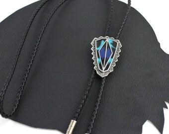 Blue Turquoise Black & Silver Geometric Western Bolo Tie