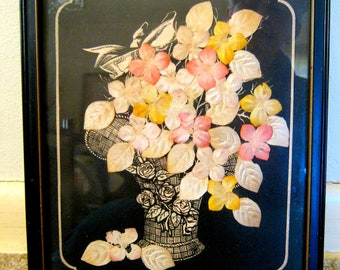 Vintage 1932 Fabric Flowers in Vase 8 x 10 Framed TEXTILE ART PICTURE